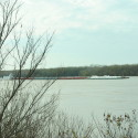 Barge passing by (9 miles of river frontage)